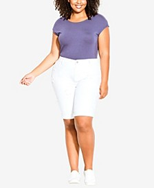 Plus Size Denim Star Shorts