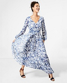 Chiffon Faux-Wrap Maxi Dress, Created for Macy's
