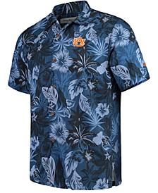 Men's Blue Auburn Tigers Fuego Floral Silk Camp Shirt