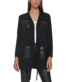 Faux Leather Pocket Sweater