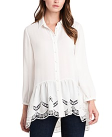 Solid Lace-Trimmed Button-Down Tunic Top