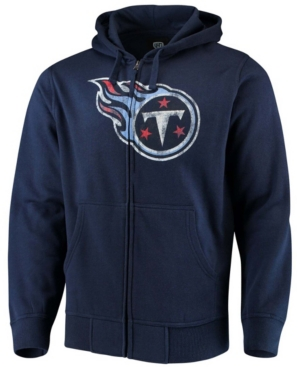 Men's Big and Tall Navy Tennessee Titans Primary Logo Full-Zip Hoodie
