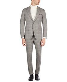 Men's Slim-Fit Black & Cream Plaid Suit Separates