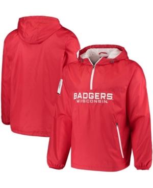 Men's Red Wisconsin Badgers Base Runner Half-Zip Hoodie Jacket