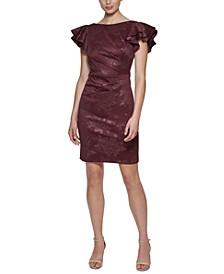 Printed Side-Tuck Sheath Dress