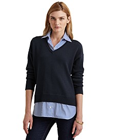 Layered-Look V-Neck Sweater