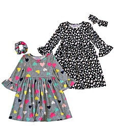 Little Girls Ruffle Sleeve Heart and Floral Dresses with Hair Accessories, 4 Piece Set