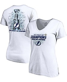 Women's White Tampa Bay Lightning 2021 Stanley Cup Champions Signature Roster V-Neck T-shirt