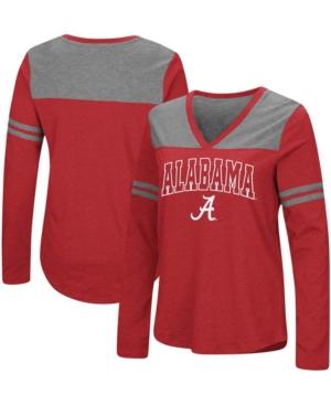 Women's Crimson Alabama Crimson Tide Core Heritage Arch Logo V-Neck Long Sleeve T-shirt