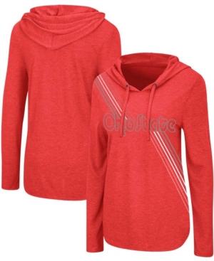 Women's Heathered Scarlet Ohio State Buckeyes Bernadette Long Sleeve Hoodie T-shirt