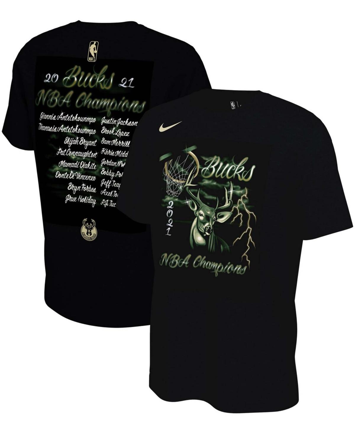 Men's Black Milwaukee Bucks 2021 Nba Finals Champions Celebration Roster T-shirt