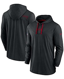 Men's Black Atlanta Falcons Sideline Performance Hoodie Tri-Blend Long Sleeve T-shirt