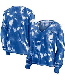 Women's White, Royal Seattle Seahawks Sport Resort Tie-Dye V-Neck Long Sleeve T-shirt
