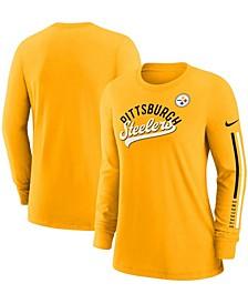 Women's Gold-Tone Pittsburgh Steelers Team Name Long Sleeve T-shirt