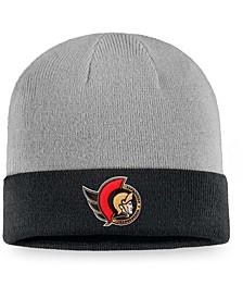 Men's Gray, Black Ottawa Senators Cuffed Knit Hat