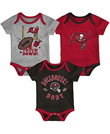 Baby Girls and Boys Red, Pewter, Heathered Gray Tampa Bay Buccaneers Champ Bodysuit Set, 3 Pack