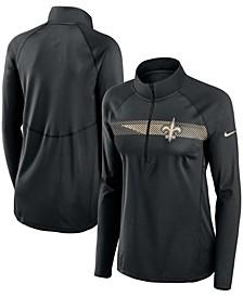 Women's Black New Orleans Saints Logo Element Half-Zip Raglan Performance Pullover Jacket
