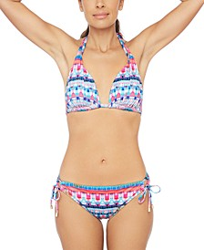 Global Jive Printed Halter Bikini Top & Tie Bottoms