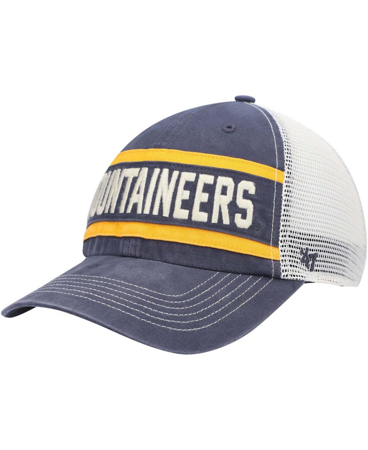 Mens Navy West Virginia Mountaineers Juncture Clean Up Trucker Snapback Hat