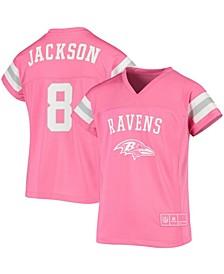 Youth Big Girls Lamar Jackson Pink Baltimore Ravens Fashion Fan Gear V-Neck T-Shirt