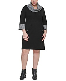 Plus Size Contrast Cowl-Neck Sweater Dress