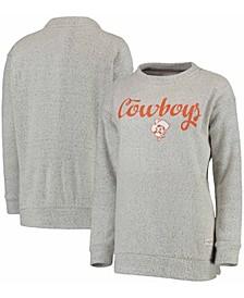 Women's Cream Oklahoma State Cowboys Comfy Terry Crew Sweatshirt