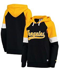 Women's Black-Gold Pittsburgh Penguins Shutout Raglan Pullover Hoodie