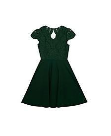 Big Girls Lace to Scuba Crepe Dress