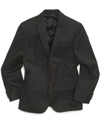 Solid Black Suit Jacket, Big Boys Husky