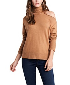 Cold-Shoulder Cuffed Turtleneck Sweater