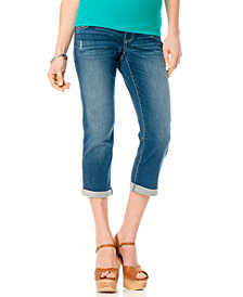Motherhood Maternity Distressed Cropped Jeans, Light Wash
