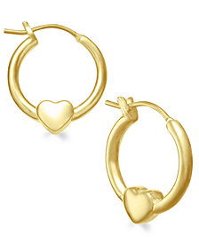 Children's 18k Gold over Sterling Silver Heart Hoop Earrings