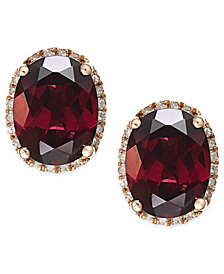 Garnet (3-3/4 ct. t.w.) and Diamond Accent Earrings in 14k Rose Gold