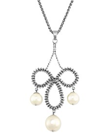 Pearl Lace by EFFY® Cultured Freshwater Pearl Chandelier Pendant Necklace in Sterling Silver (8-1/2mm)
