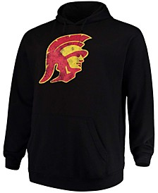 Men's Big and Tall Black USC Trojans Distressed Logo Pullover Hoodie