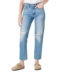 Destructed Mid-Rise Boyfriend Jeans