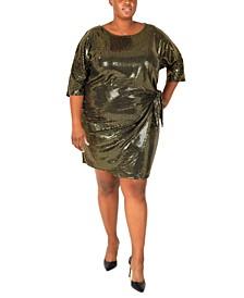 Plus Size Metallic Side-Tie Sheath Dress