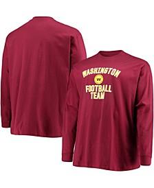 Men's Big and Tall Burgundy Washington Football Team Lockup Long Sleeve T-shirt