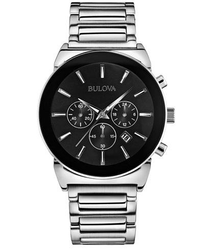 Bulova Men's Chronograph Stainless Steel Bracelet Watch 41mm 96B203