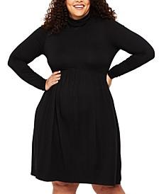 Plus Size Turtleneck Fit & Flare Maternity Dress