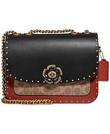 Madison Shoulder Bag in Signature Canvas With Rivets And Snakeskin Detail