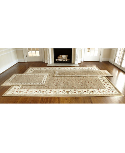 Km Home Roma Floral Beige 3 Pc Area Rug Set Macy S