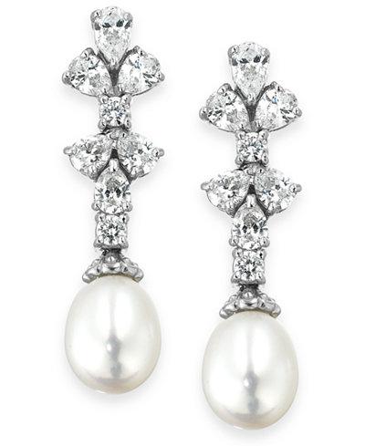 Arabella Bridal Cultured Freshwater Pearl (8mm) and Swarovski Zirconia (1-3/4 ct. t.w.) Earrings in Sterling Silver