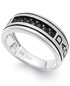 Men's Black Sapphire Engraved Dad Ring in Sterling Silver (3/4 ct. t.w.)
