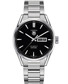TAG Heuer Men's Swiss Automatic Carrera Calibre 5 Day-Date Stainless Steel Bracelet Watch 41mm