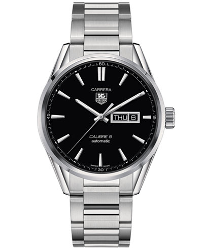 TAG Heuer Men's Swiss Automatic Carrera Calibre 5 Day-Date Stainless Steel Bracelet Watch 41mm WAR201A.BA0723