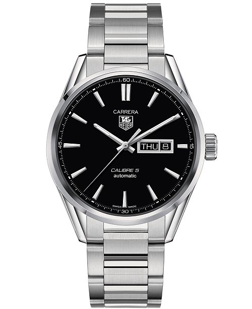 Tag Heuer Men S Swiss Automatic Carrera Calibre 5 Day Date Stainless Steel Bracelet Watch