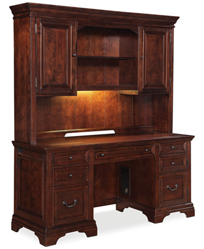 Cambridge Home Office Furniture 2 Piece Set Credenza Desk And Hutch