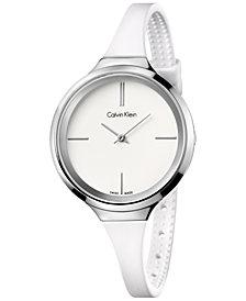 Calvin Klein Women's Swiss White Silicone Strap Watch 34mm K4U231K2