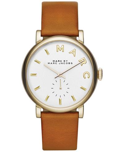Marc by Marc Jacobs Women's Baker Tan Leather Strap Watch 36mm MBM1316